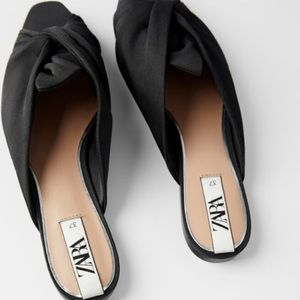 Zara black mules with fabric knot